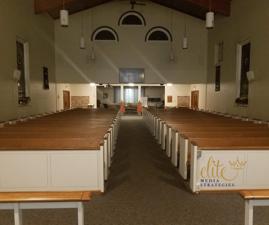 Image of the inside of a church at night