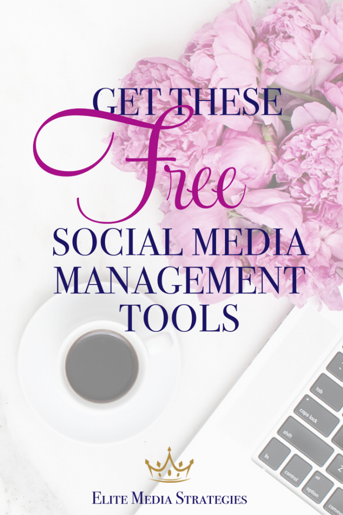"Picture shows an overhead picture of a white laptop with a black keyboard, cup of coffee, and pink flowers. Overlay text reads ""Get These Free Social Media Marketing Tools for Your Business"" with the Elite Media Strategies logo in the lower right corner."